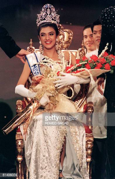 Sushmita Sen smiles 21 May 1994 after winning the 1994 Miss Universe crown in Manila Sen became the first Indian winner of the world's most...