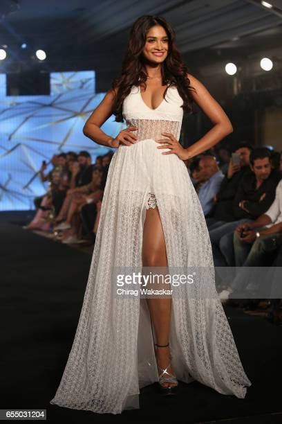 Sushrii Shreya Mishraa walks the runway at the Nidhi Munim show during India Intimate Fashion Week 2017 at Hotel Leela on March 18 2017 in Mumbai...