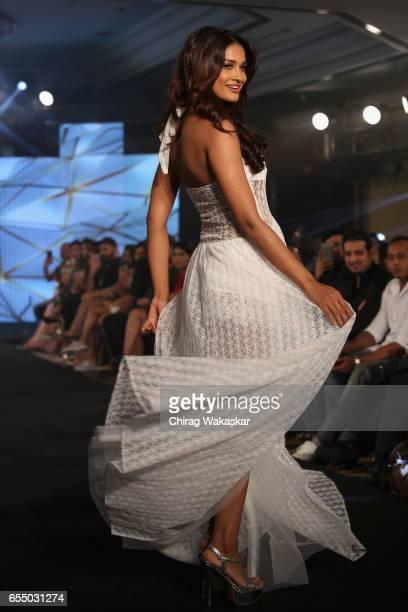 Sushrii Shreya Mishraa walks the runway at the Nidhi Munim show during India Intimate Fashion Week 2017 at Hotel Leela on March 18 2017 in Mumbai...