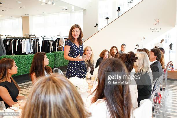 Susi Damilano speaks at the Susan Atherton and Barneys New York private luncheon for Gianvito Rossi on August 25 2015 in San Francisco California