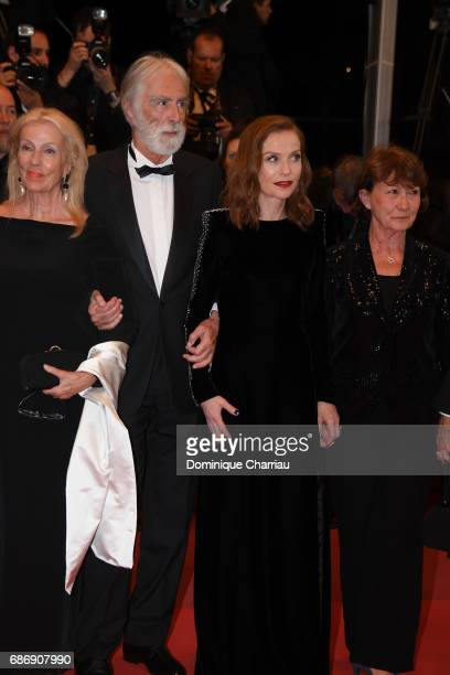 "Susi Haneke, Michael Haneke, Isabelle Huppert and Marianne Hoepfnerattend the ""Happy End"" screening during the 70th annual Cannes Film Festival at..."