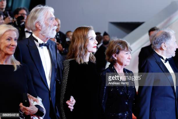 "Susi Haneke, Michael Haneke, Isabelle Huppert, Marianne Hoepfner and Jean-Louis Trintignant attend the ""Happy End"" screening during the 70th annual..."
