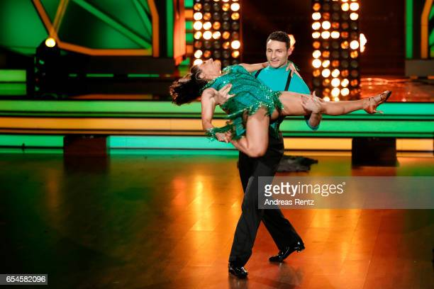 Susi Kentikian and Robert Beitsch perform on stage during the 1st show of the tenth season of the television competition 'Let's Dance' on March 17...