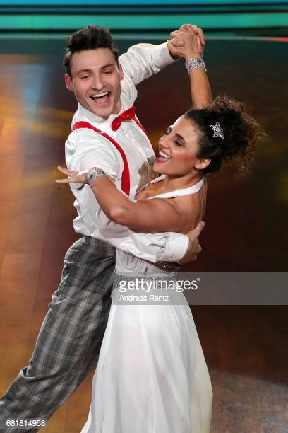 Susi Kentikian and Robert Beitsch perform on stage during the 3rd show of the tenth season of the television competition 'Let's Dance' on March 31...
