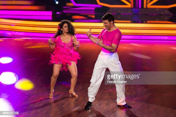 Susi Kentikian and Robert Beitsch perform on stage during the 4th show of the tenth season of the television competition 'Let's Dance' on April 7...