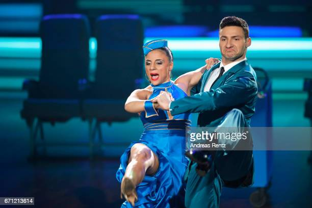 Susi Kentikian and Robert Beitsch perform on stage during the 5th show of the tenth season of the television competition 'Let's Dance' on April 21...