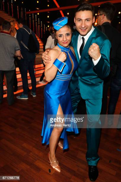 Susi Kentikian and Robert Beitsch pose after the 5th show of the tenth season of the television competition 'Let's Dance' on April 21 2017 in Cologne...