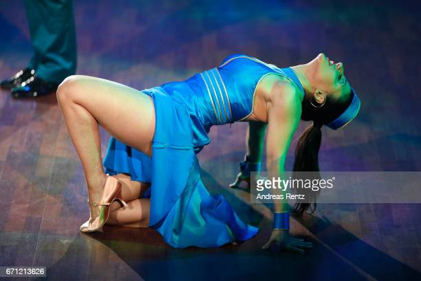 Susi Kentikian performs on stage during the 5th show of the tenth season of the television competition 'Let's Dance' on April 21 2017 in Cologne...