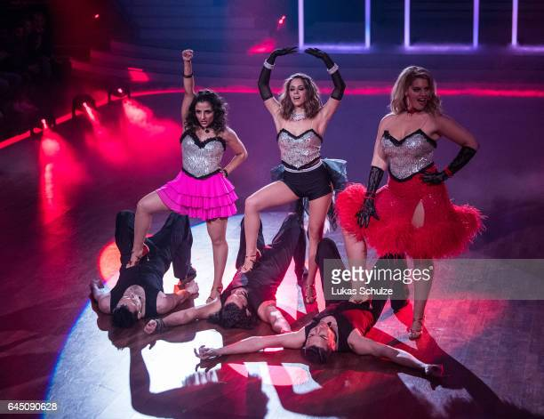 Susi Kentikian Vanessa Mai and Angelina Kirsch perform on stage during the preshow 'Wer tanzt mit wem Die grosse Kennenlernshow' for the television...