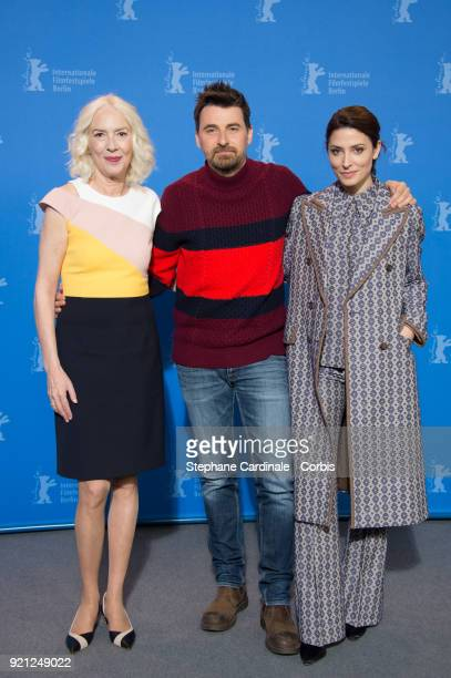 Susi Sanchez Ramon Salazar and Barbara Lennie pose at the 'Sunday's Illness' photo call during the 68th Berlinale International Film Festival Berlin...