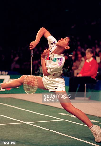 Susi Susanti of Indonesia en route to her victory in the Women's All England Badminton Championship at Wembley Arena in London on 20th March 1993