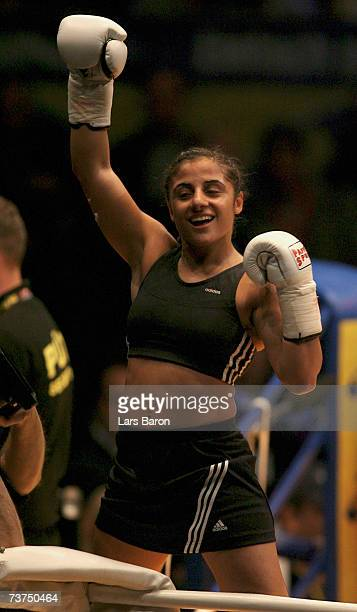 Susianna Kentikian of Germany celebrates after winning the flyweight WBA World Championship fight against Maria Jose Nunez Anchorena of Uruguay at...