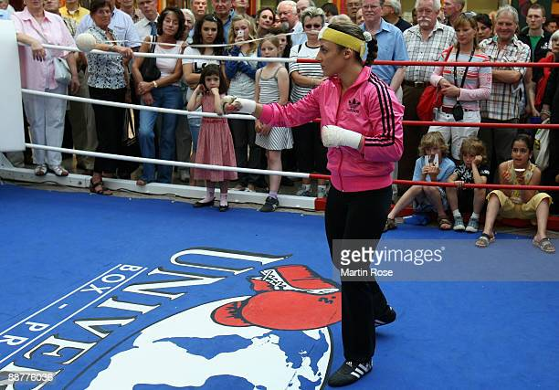 Susianna Kentikian of Germany in action during a public training session at the Wandsbek Quarre on July 1 2009 in Hamburg Germany The WBA WIBF...