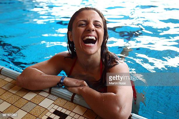 Susianna Kentikian of Germany laughs during a training session at the Wandsbek swimming hall on March 31 2010 in Hamburg Germany The WBA WBO WIBF...