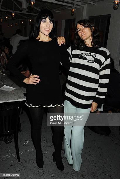 Susie Bick and Bella Freud attend the launch party for Bella Freud and Susie Bick's first design collaboration at Bistrotheque on September 6 2010 in...