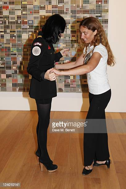 Susie Bick and Martina Amati attend the debut screening of a short film collaboration between Bella Freud and director Martina Amati at Max Wigram...