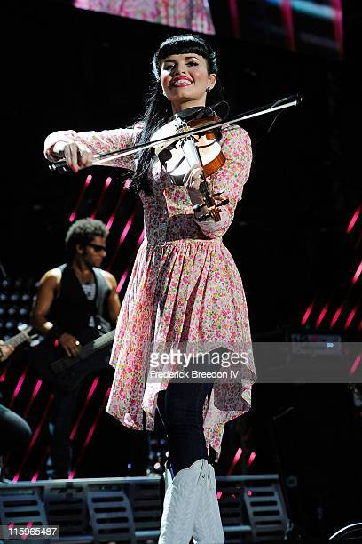 Susie Brown of The JaneDear Girls performs on the stage at LP Field at the 2011 CMA Music Festival on June 12 2011 in Nashville Tennessee