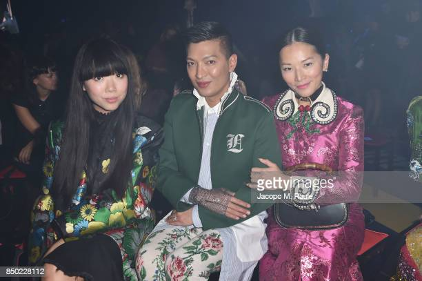 Susie Bubble Bryanboy and Tina Leung attend the Gucci show during Milan Fashion Week Spring/Summer 2018 on September 20 2017 in Milan Italy