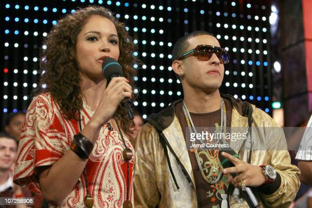Susie Castillo and Daddy Yankee during Daddy Yankee Performs on MTV's TRL with Special Guests Jordin Sparks and Blake Lewis of American Idol May 30...