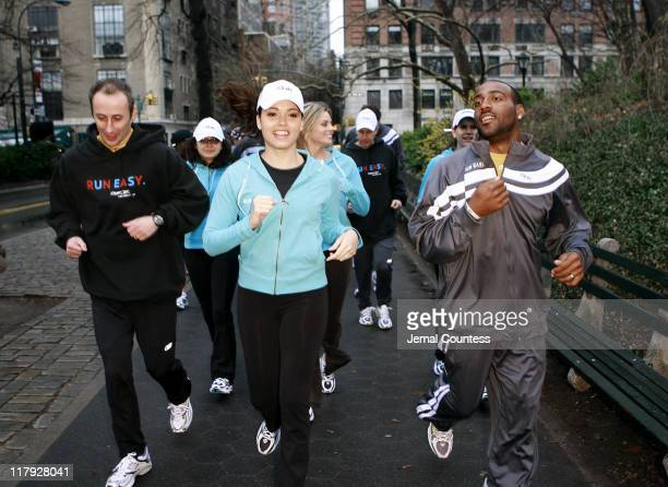 Susie Castillo and Deangelo Hall join memebers of the media on a run through Central Park during the kick off of Reebok's new Run Easy campaign on...