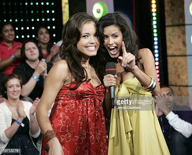 Susie Castillo and Jaslene Gonzalez during Jaslene Gonzalez 'America's Next Top Model' Cycle 8 Winner Visits MTV's 'TRL' May 23 2007 at MTV Studios...