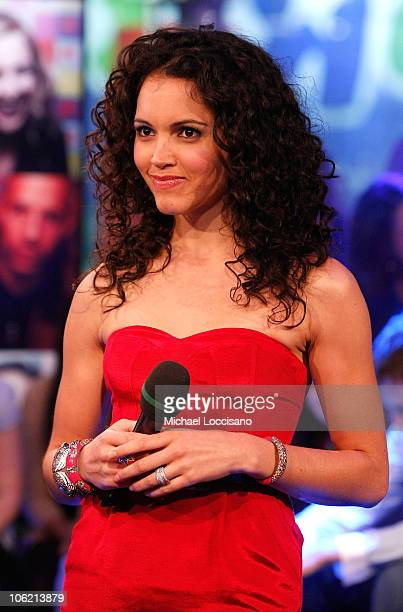 """Susie Castillo speaks during MTV's TRL """"Total Finale Live"""" at the MTV Studios in Times Square on November 16, 2008 in New York City."""