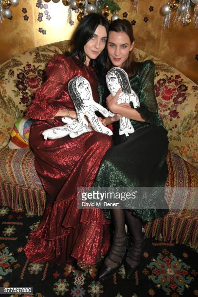 Susie Cave and Alexa Chung attend the Nick Cave The Bad Seeds x The Vampires Wife x Matchesfashioncom party at Loulou's on November 22 2017 in London...