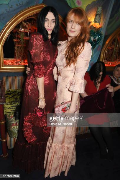 Susie Cave and Florence Welch attend the Nick Cave The Bad Seeds x The Vampires Wife x Matchesfashioncom party at Loulou's on November 22 2017 in...