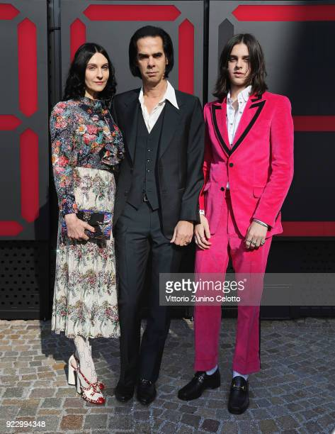 Susie Cave Nick Cave and Earl Cave arrive at the Gucci show during Milan Fashion Week Fall/Winter 2018/19 on February 21 2018 in Milan Italy