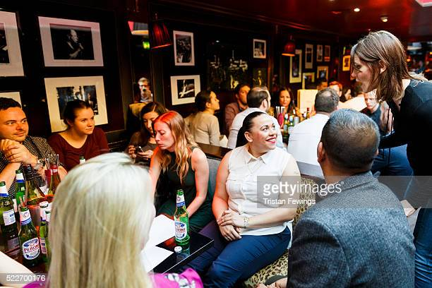 Susie Dent and guests during the Smartest in Media Quiz at Advertising Week Europe 2016 at Ronnie Scott's on April 20 2016 in London England