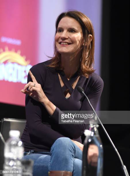 Susie Dent speaks on stage during the discussion My Life in Words at the BFI Radio Times TV Festival at the BFI Southbank on April 8 2017 in London...