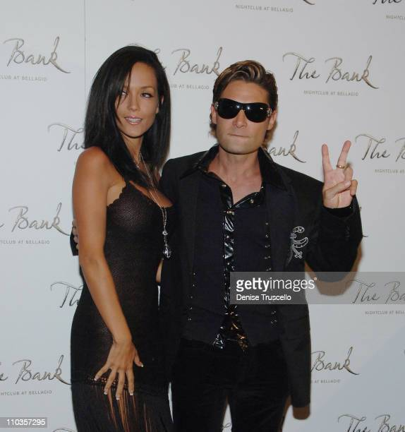 Susie Feldman and Corey Feldman arrive at Corey's birthday celebration at The Bank Nightclub at The Bellagio Hotel and Casino on July 18 2008 in Las...