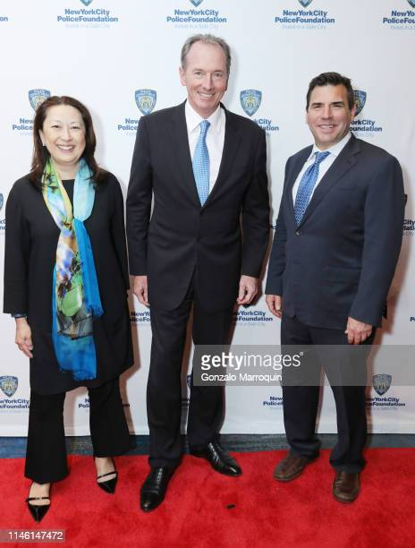 Susie Huang James P Gorman and Andy Saperstein attend the 2019 New York City Police Foundation Gala at New York Hilton Midtown on April 30 2019 in...