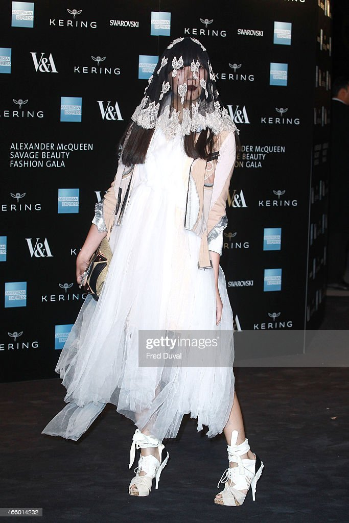 Susie Lau attends a private view for the 'Alexander McQueen: Savage Beauty' exhibition at Victoria & Albert Museum on March 12, 2015 in London, England.