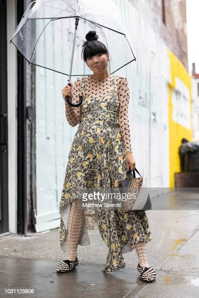 Susie Lau is seen on the street during New York Fashion Week SS19 wearing Marine Serre on September 10 2018 in New York City