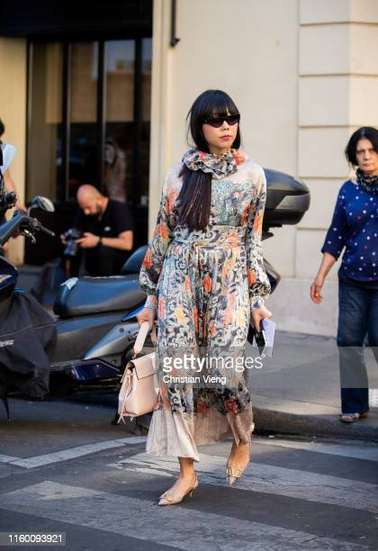 Susie Lau is seen outside Valentino during Paris Fashion Week Haute Couture Fall/Winter 2019/2020 on July 03 2019 in Paris France