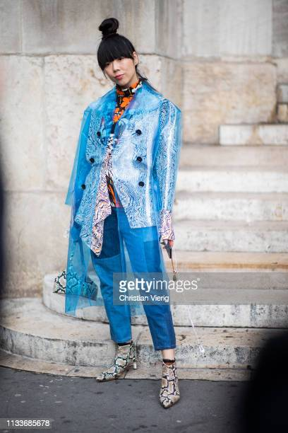 Susie Lau is seen wearing blue see through coat outside Stella McCartney during Paris Fashion Week Womenswear Fall/Winter 2019/2020 on March 04 2019...