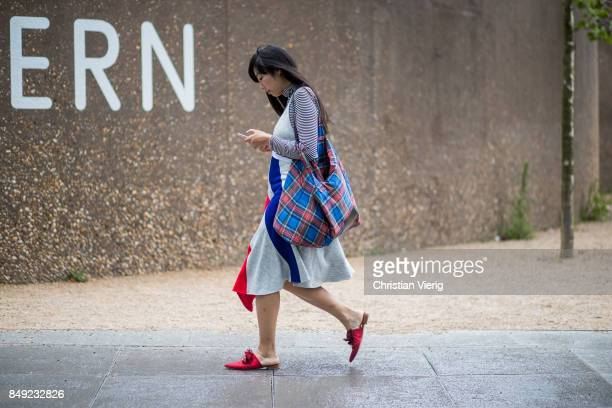 Susie Lau outside Christopher Kane during London Fashion Week September 2017 on September 18 2017 in London England