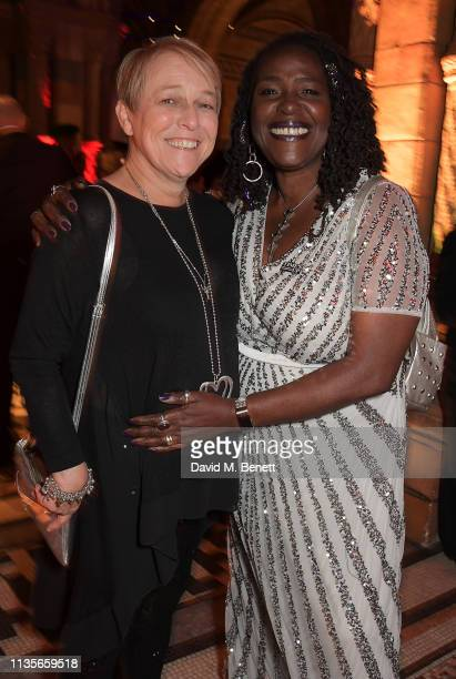 Susie McKenna and Sharon D Clarke attend The Olivier Awards 2019 after party at The Natural History Museum on April 7 2019 in London England