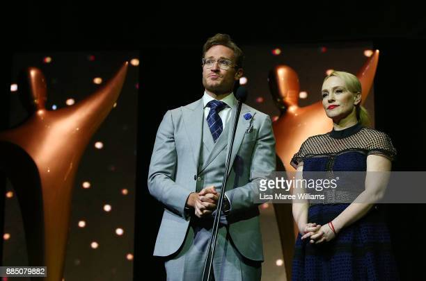 Susie Porter and Josh Lawson present on stage during the 7th AACTA Awards Presented by Foxtel | Industry Luncheon at The Star on December 4 2017 in...