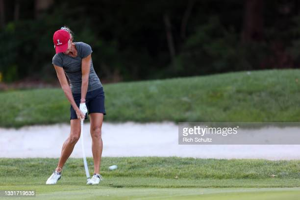 Susie Redman of the United States hits her shot on the 12th fairway during the second round of the U.S. Senior Women's Open Championship on July 30,...