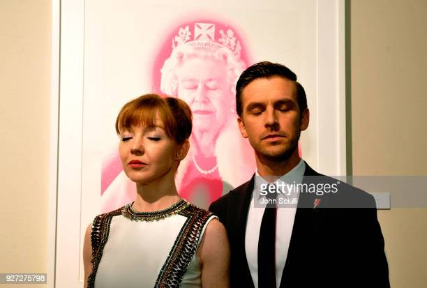 Susie Hariet and Dan Stevens attend the 26th annual Elton John AIDS Foundation Academy Awards Viewing Party at The City of West Hollywood Park on...
