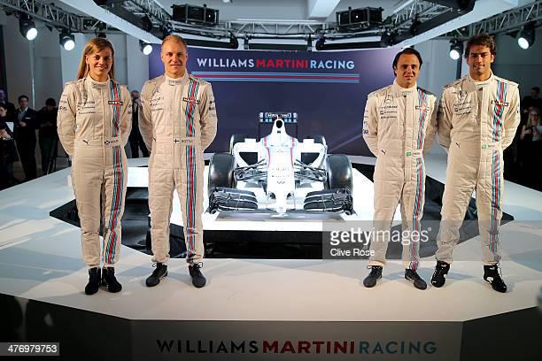 Susie Wolff Valtteri Bottas Felipe Massa and Felipe Nasr pose with the Williams Martini Racing formula one car on March 6 2014 in London England