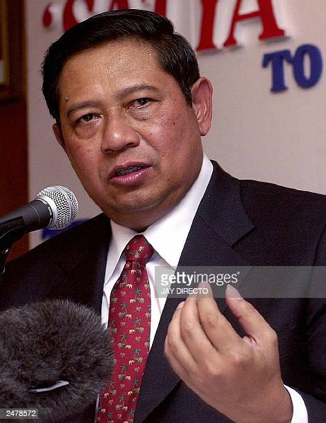 H E Susilo Bambang Yudhoyono Coordinating Minister for Political and Security Affairs of Indonesia speaks during a press conference at the Embassy in...