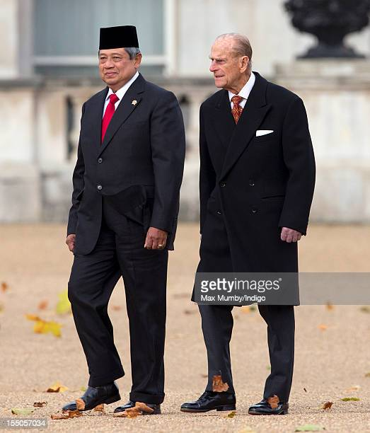 Susilo Bambang Yudhoyono President of the Republic of Indonesia and Prince Philip Duke of Edinburgh walk across Horse Guards Parade after inspecting...