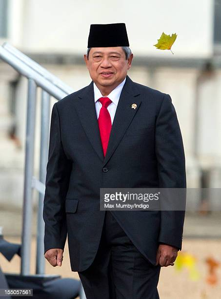 Susilo Bambang Yudhoyono President of the Republic of Indonesia attends his ceremonial welcome at Horse Guards Parade on day one of his state visit...