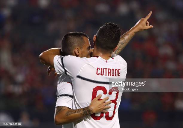 Suso and Patrick Cutrone of AC Milan celebrate Suso's goal in the first half during the International Champions Cup 2018 match against Manchester...