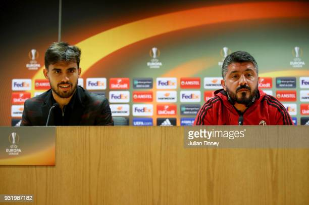 Suso of AC Milan and Gennaro Gattuso Head coach of AC Milan speak to the media during the AC Milan Press Conference at Emirates Stadium on March 14...