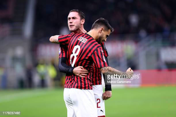Suso of Ac Milan celebrate after scoring a goal with his teammate Davide Calabria during the the Serie A match between Ac Milan and Spal Ac Milan...