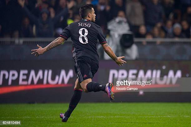 Suso of AC Milan celebrates after scoring during the Serie A football match between AC Milan and FC Internazionale